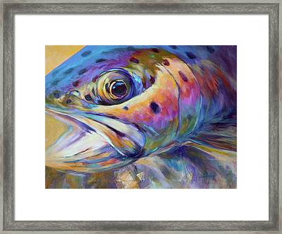 Face Of A Rainbow- Rainbow Trout Portrait Framed Print by Savlen Art