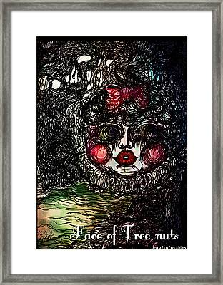 Face Of Tree Nuts Framed Print by Akiko Okabe