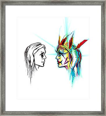 Face To Face Framed Print by Andrea Carroll