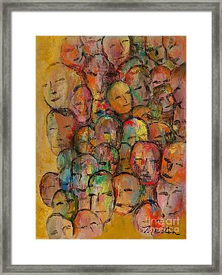 Faces In The Crowd Framed Print by Larry Martin