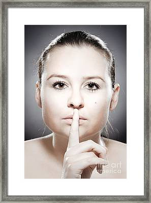 Facial Expression - Silence Framed Print by Wolfgang Steiner