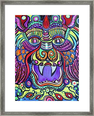 Facing The Dragon Framed Print by Lorinda Fore and Tony Lima