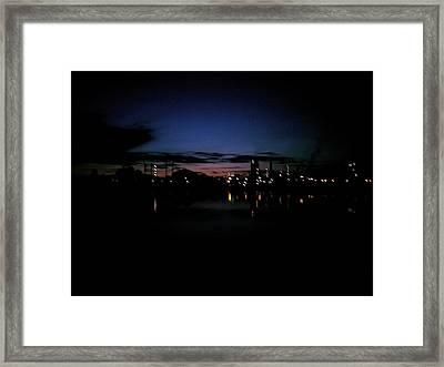 Factory Fjord Sunset Framed Print by Jonathan Laverick