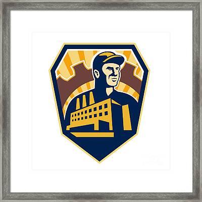 Factory Worker Building Cog Shield Retro Framed Print by Aloysius Patrimonio