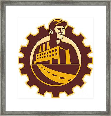 Factory Worker Mechanic With Cog Building Framed Print by Aloysius Patrimonio