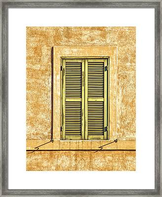 Faded Green Wood Window Shutter Of Medieval Rome  Framed Print by David Letts
