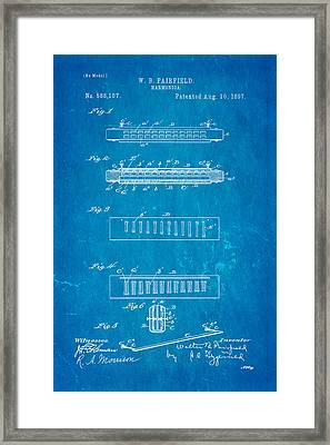 Fairfield Harmonica Patent Art 1897 Blueprint Framed Print by Ian Monk