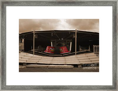 Fairground Waltzer In Sepia Framed Print by Terri Waters