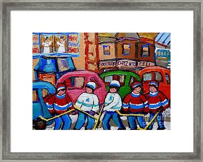 Fairmount Bagel Street Hockey Game Framed Print by Carole Spandau