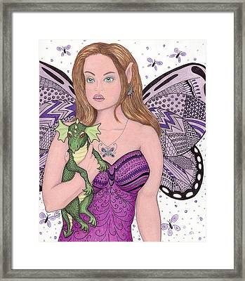 Fairy And Her New Friend -- The Baby Dragon Framed Print by Sherry Goeben