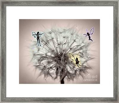 Fairy Dandelion Framed Print by Sherry Bowen