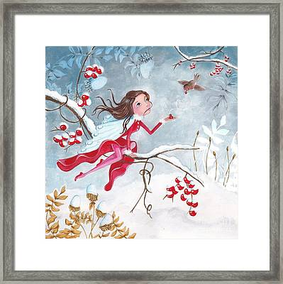 Fairy With Berries Framed Print by Caroline Bonne-Muller