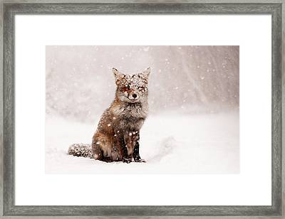 Fairytale Fox _ Red Fox In A Snow Storm Framed Print by Roeselien Raimond