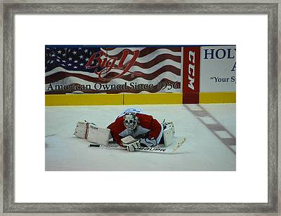 Falcons Goalie Stretching Framed Print by Mike Martin
