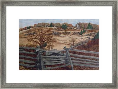 Fall At Little Round Top Gettysburg Framed Print by Joann Renner