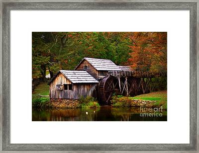 Fall At Mabry Mill Framed Print by T Lowry Wilson