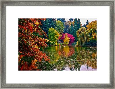 Fall By The Water Framed Print by Rae Berge