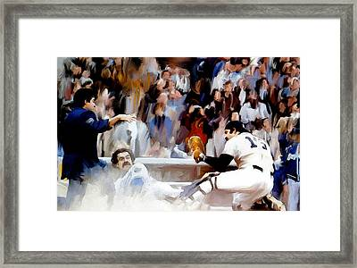 Fall Classic II  Thurman Munson Framed Print by Iconic Images Art Gallery David Pucciarelli