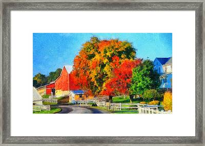 Fall Colors On The Farm Framed Print by Dan Sproul