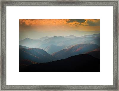 Fall Foliage Ridgelines Great Smoky Mountains Painted  Framed Print by Rich Franco