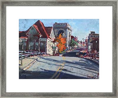 Fall In Town Of Lockport Framed Print by Ylli Haruni
