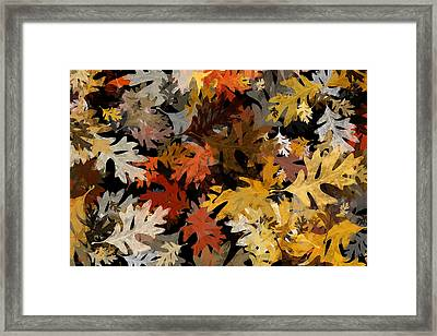 Fall Oak Leaf Abstract Art Framed Print by Christina Rollo