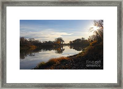 Fall Red River At Sunrise Framed Print by Steve Augustin