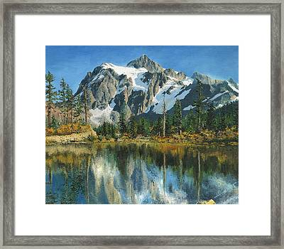 Fall Reflections - Cascade Mountains Framed Print by Mary Ellen Anderson