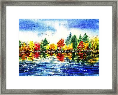 Fall Reflections Framed Print by Irina Sztukowski