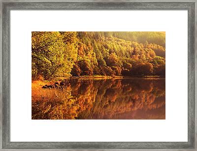 Fall Reflections. Loch Achray. Scotland Framed Print by Jenny Rainbow