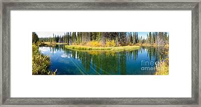 Fall Sky Mirrored On Calm Clear Taiga Wetland Pond Framed Print by Stephan Pietzko