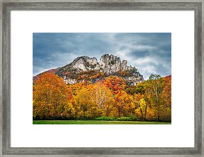 Fall Storm Seneca Rocks Framed Print by Mary Almond