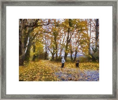 Fall Stroll Framed Print by Barry Jones