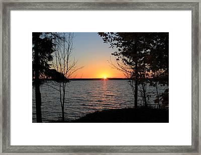 Fall Sunset At Long Lake Framed Print by Rhonda Humphreys