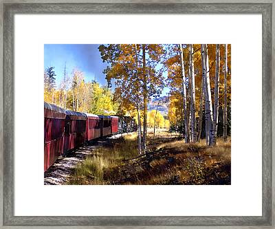 Fall Train Ride New Mexico Framed Print by Kurt Van Wagner