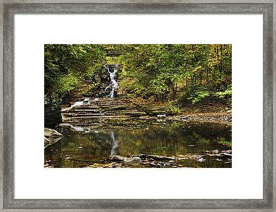Fall Waterfall Creek Reflection Framed Print by Christina Rollo