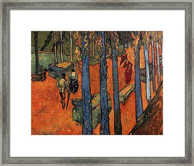 Falling Autumn Leaves Framed Print by Vincent van Gogh