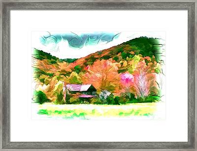 Falling Farm Blended Art Styles Framed Print by John Haldane