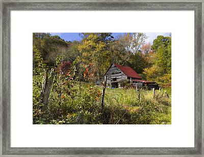 Falling Into Autumn Framed Print by Debra and Dave Vanderlaan