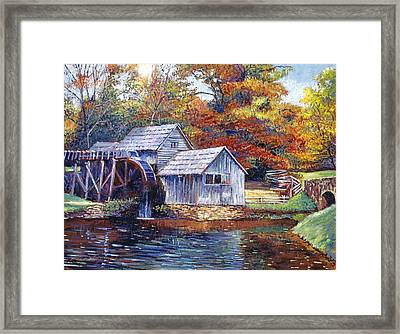 Falling Water Mill House Framed Print by David Lloyd Glover