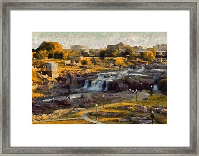 Falls Park In Autumn Sioux Falls South Dakota Framed Print by Dan Sproul