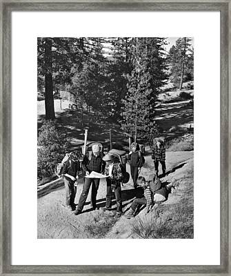 Family Backpacking Trip Framed Print by Underwood Archives