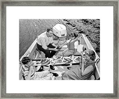 Family Boating Lunch Framed Print by Underwood Archives