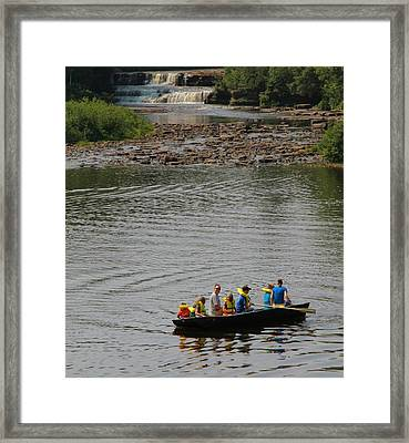 Family Canoeing At Lower Tahquamenon Falls Framed Print by Dan Sproul