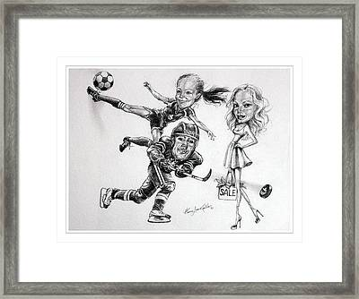 Family Caricature Framed Print by Hanne Lore Koehler