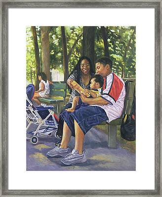 Family In The Park Framed Print by Colin Bootman