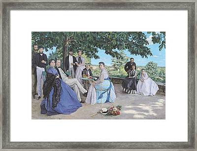 Family Reunion, 1867 Oil On Canvas Framed Print by Jean Frederic Bazille