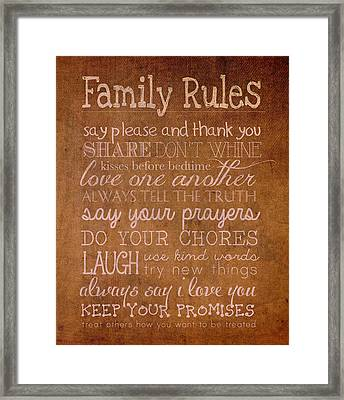 Family Rules Words Of Wisdom On Worn Distressed Canvas Framed Print by Design Turnpike