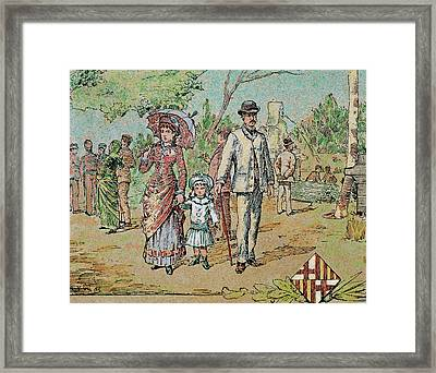 Family Walking Barcelona, Catalonia Framed Print by Prisma Archivo