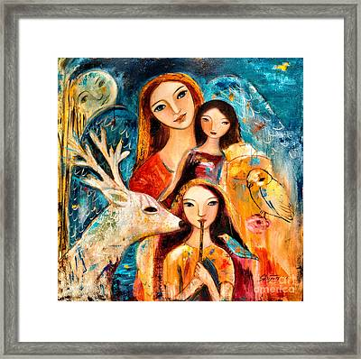 Family With Reindeer Framed Print by Shijun Munns